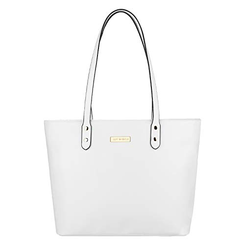 SEPT MIRACLE PU Leather Womens Portable Handbags Tote Bag Shoulder Bag Purse (Pure White)