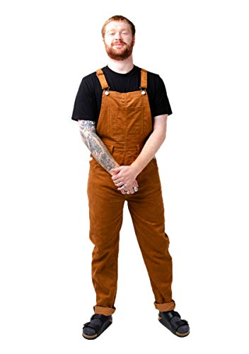 Wash Clothing Company Herren Cord-Latzhose Braun Relaxed Fit Overalls BERTIECORD Dungarees Brown