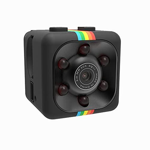 QEBIDUM Cop Cam, Mini Spy Camera Wireless, Sports HD DV SQ11 Camera, Hidden 1080P Micro Nanny Motion Detection Camcorder Infrared Night Vision Digital Video Recorder Outdoor Indoor Office