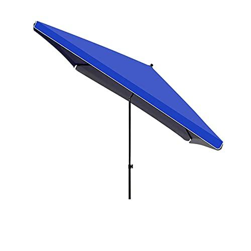 Paraguas Rectangulares del Paraguas del Patio De 200x200cm, Paraguas del Mercado De La Mesa Al Aire Libre con El Paraguas Inclinado del Botón,Azul