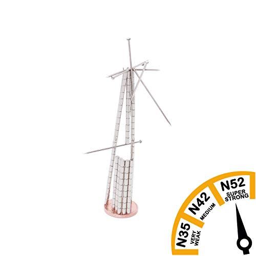 Brudazon | 50 mini schijfmagneten 2x3 mm | N52 dikke stand - neodymium magneten ultrasterk | Power magneet voor modelbouw, foto, whiteboard, notitiebord, koelkast, knutselen | magnetische schijf extra sterk