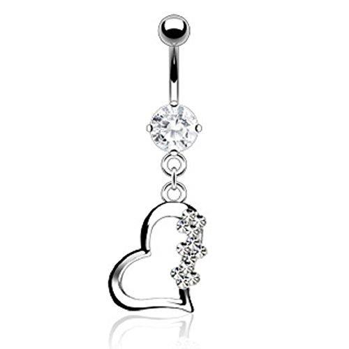 PiercedOff navelpiercing van titanium met een hart en stenen (transparant).