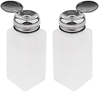 SOHAPY 2pcs Push Down Empty Pump Bottle Dispenser Refillable Container for Nail Polish and Makeup Remover Essential Oils Cleaning Products Portable Travel Bottles Set (8.5 oz/250 ml)