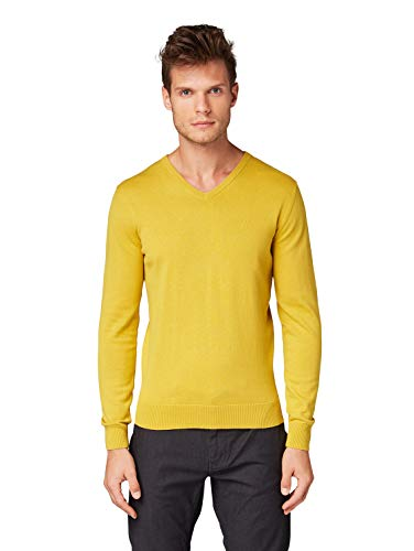 TOM TAILOR Herren Pullover & Strickjacken Schlichter Strickpullover Sand Yellow,L