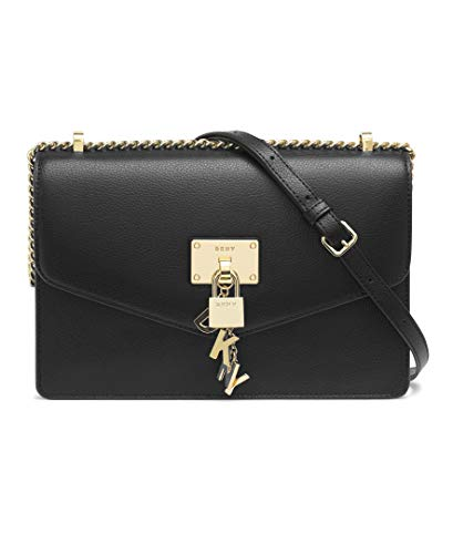 DKNY Women's Elissa Lg Shoulder Bag, Black Gold, One Size