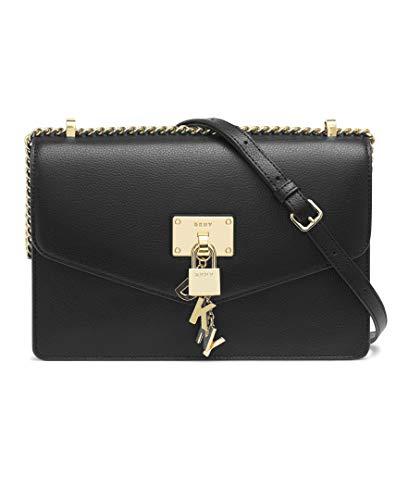 DKNY Damen ELISSA LG SHOULDER BAG Umhängetasche, schwarz/Gold, Einheitsgröße