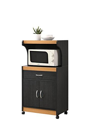 Hodedah Microwave Kitchen Cart, Black-Beech