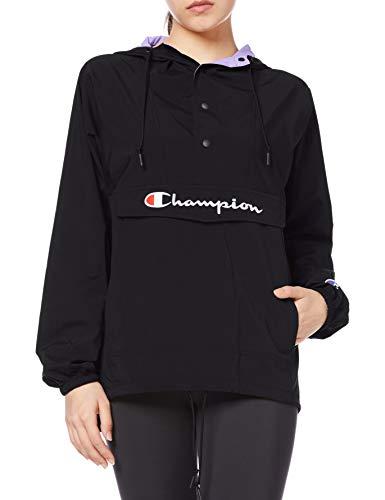 [チャンピオン] アノラックパーカー ナイロンジャケット 防風 撥水 ストレッチ レインウェア カラーブロック スクリプトロゴ刺繍 トレーニングウェア スポーツウェア CW-RSC03 レディース ブラック M
