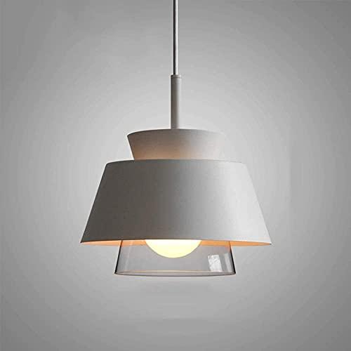 LLDKA Posmoderno Colgante luz Cabeza Simple e27 suspensión luz Creativa Colgante lámpara lámpara con la lámpara de Hierro Forjado decoración iluminación,Blanco