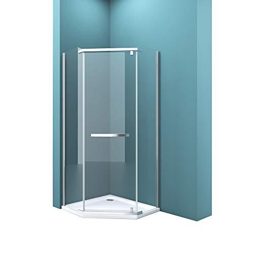 Fünfeck-Duschkabine mit Duschtasse 90 x 90 cm Duschwand Echtglas ebenerdige Montage möglich ESG Dusche Ravenna08