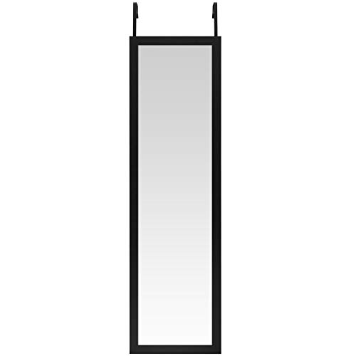 Americanflat Over the Door Mirror - Full Length Hanging Door Mirror for Bedroom, Bathroom, Dorm and More, Black