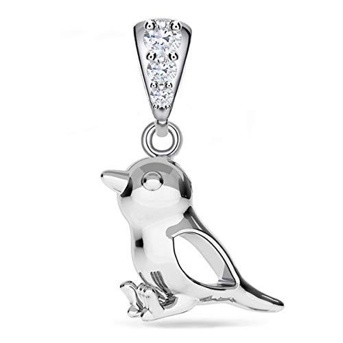 Spatz Anhänger mit Zirkonia Kristallen 925 Silber Damen Kinder Mädchen Vogel (Silber/Anhänger ohne Kette, 0)