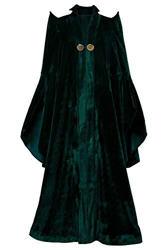 xiemushop Kostüm, Film für Frauen, magische Schule, Zauberer, Halloween, Professor, McGonagall, Cosplay, Hexenkleid, lang, aus Velours Gr. L, grün