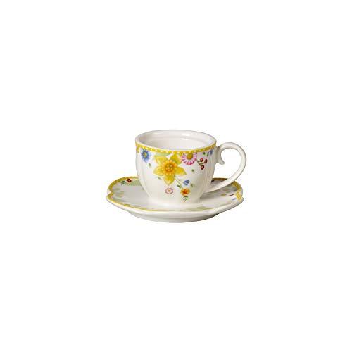 Villeroy & Boch Spring Awakening Teelichthalter Tasse mit Untertasse, dekorativer Kerzenhalter, Premium Porzellan, gelb, weiß, bunt, 10x10x5,1