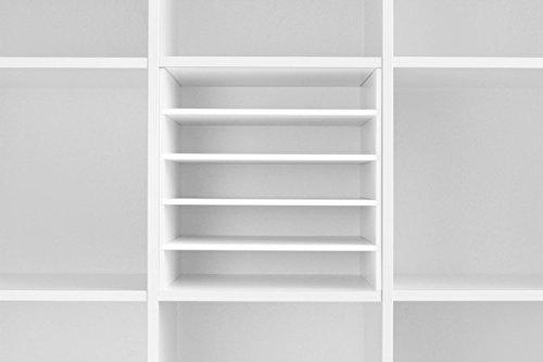 Postfach Regaleinsatz für Kallax Expedit Regal Einsatz Ablage Papierfach Papierregal Postfach Sortierfach Scrapbooking Papier Fach Aufbewahrung Dokumentenablage Fachteiler für 5 Einzelfächer 33,5 x 33,5 x 38 cm Weiß