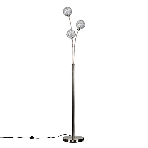 Contemporary 3 Way Brushed Chrome Floor Lamp with Metal Wire Globe Shades