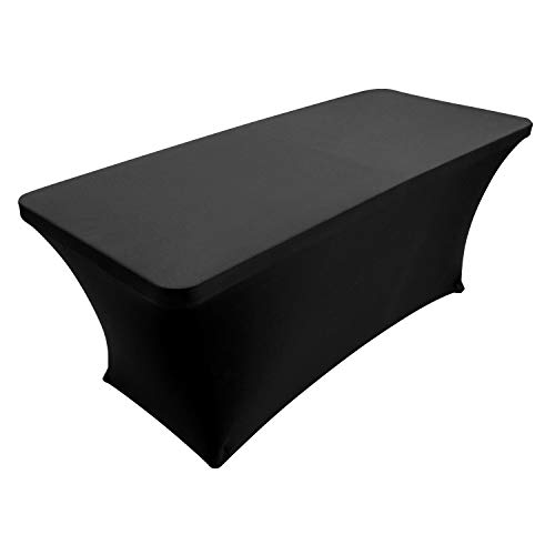 Houseables Black Table Cloths, Fitted Tablecloth Cover, 6 ft, Black, Rectangular Skirts, Polyester/Spandex, Elastic, Stretchable Linen, Stain & Wrinkle Proof, for Folding Tables, Wedding, DJ, Events