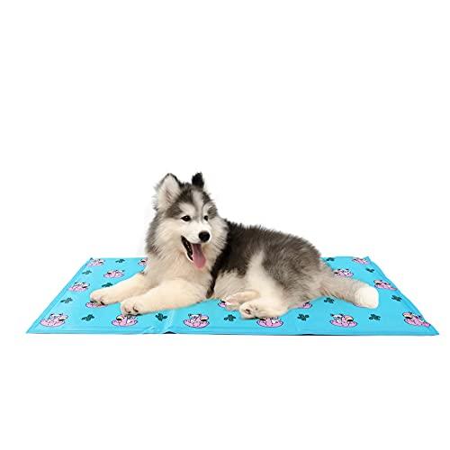 Toozey Alfombra Refrescante para Perro Gato Autoenfriamiento - Alfombra de Gel Activada por Presión Manta Refrigerante para Perros, Prueba de Arañazos/Impermeable/Antideslizante, Azul, L 90*50cm