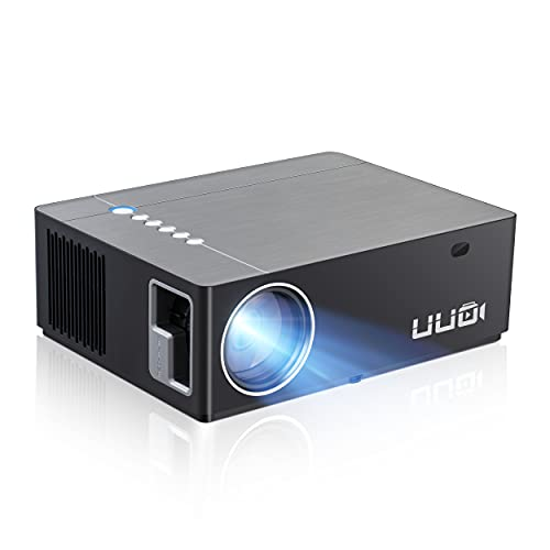 """UUO Native 1080P Projector P6 Upgraded Projector,Support 4K HD Video 300"""" Display Zoom ±50° Digital Keystone,Compatible with TV Stick,PS4,X-Box,Laptop,iPhone Android for Home Theater(Brushed Silver)"""