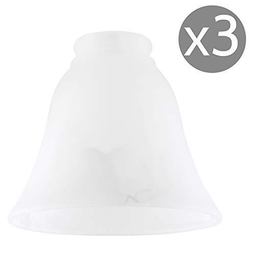 MiniSun – Schöne glockenförmige Ersatzlampenschirme aus weißem Milchglas mit Marmoroptik (3er Set) – Glas Ersatzschirme