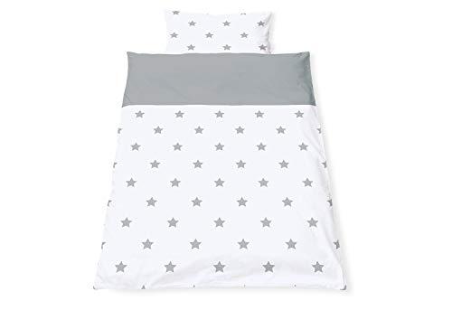 Pinolino 630022-8 Parure de lit réversible pour lit d'enfant Motif étoiles Gris 2 pièces