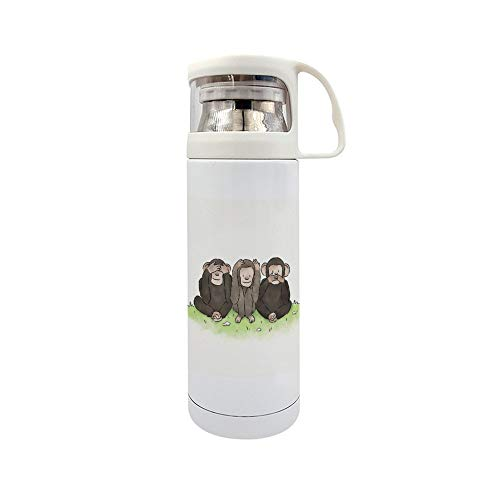 Funny Stainless Steel Vacuum Insulated Travel Mug,Monkey No See, No Hear, No Speak Travel Mug 14OZ/350ml