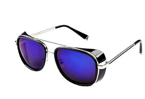 KIRALOVE Gafas de sol Tony stark - iron man - sexy - mujer - hombre - unisex - montura plateada - lentes moradas bis - gafas de sol boy iron man tony stark
