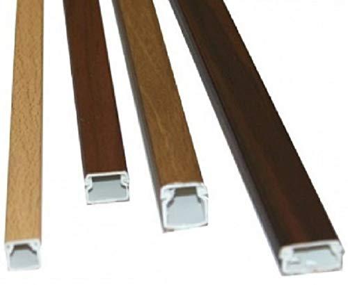 Canaleta adhesiva 12 x 12mm color imitación madera nogal en tiras de 2 metros