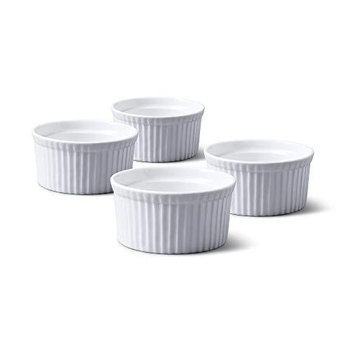 WM Bartleet & Sons 1750 TSET40 Set of 4 Traditional Porcelain Ramekins 8.5cm Diameter– White
