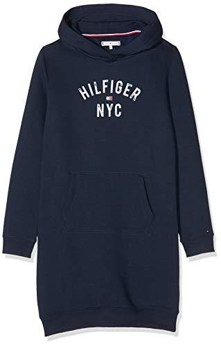 Tommy Hilfiger Essential Hoodie Sweatdress Sudadera Vestido, Azul (Blue Cbk), 116 (Talla del Fabricante: 6) para Niñas