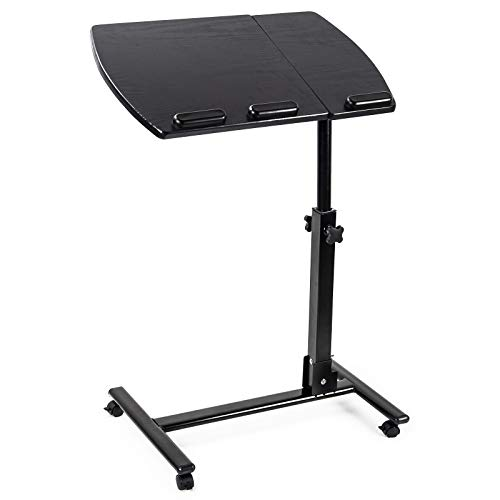 D4P Display4top Portable Tilting Mobile Laptop Computer Desk,Cart with Mouse Board, Height-Adjustable from 60cm - 90cm,360° Swivel and 180° Tilt, Lockable Casters,Walnut