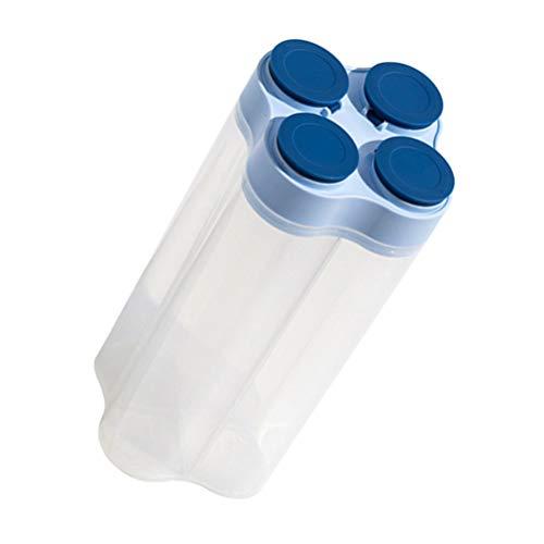 Cabilock Recipiente de Sellado Dispensador de Cereales Hermético de 4 Compartimentos Cocina Granos Secos Botella de Nueces Té Hoja Harina Caramelo Contenedor de Almacenamiento Azul