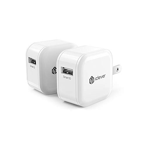 iClever BoostCube IC-TC05 2-Pack 12W USB Wall Charger with Foldable Plug for iPhone 7 / 6S / 6 / Plus, iPad Air 2 / mini 3, Galaxy S7 / S6 / S6 Edge/Edge+, Note 5 and More, White