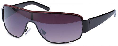 BEZLIT Damen Herren Sonnenbrille Monoscheiben Pilotenbrille Sunglasses B480 Schwarz