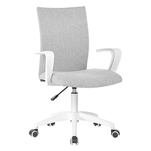 LIANFENG Office Desk Chair with Arms and Adjustable Height, Home Computer Task Chair for Work Space, Grey & White chair gaming white
