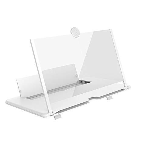 HKMA Lupa De La Pantalla del Teléfono Móvil De 12 Pulgadas con El Tenedor Extensible del Teléfono Móvil 3D,Blanco