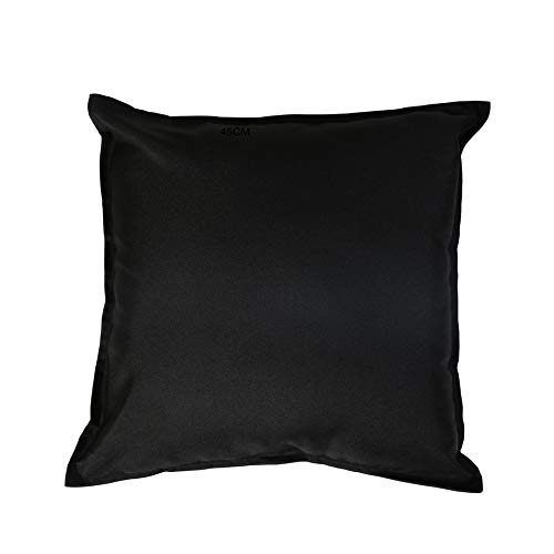 iStyleMode Set Of 2 Outdoor Garden Filled Cushion Covers Waterproof - 24' X 24' - Breathable Fabric - 60cm x 60cm (Black)