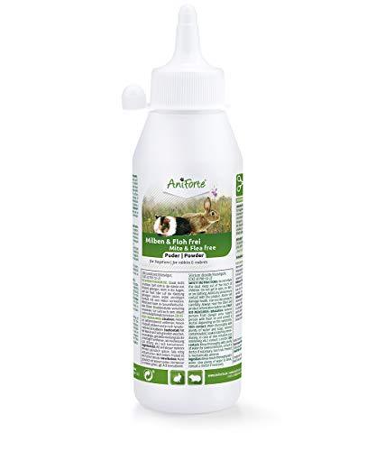 AniForte Milben und Floh Frei Pulver für Meerschweinchen, Kaninchen, Nager & Kleintiere 250 ml - Diatomeenerde & Kieselgur zur Abwehr von Milben, Flöhen, Insekten, Parasiten und Ungeziefer