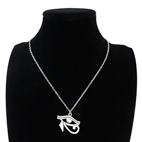 """JMZDAW Collana pendente Lega di Argento Donne Ragazze Horus Ra Amuleto Occhio Egiziano, Pendente A Catena Corta Collana 18"""""""