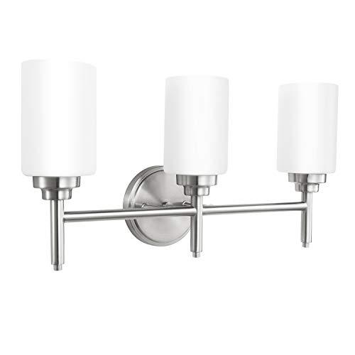 Bathroom Sconces Wall Mount Light Lamp with Clear Glass Shade Vanity Hallway Bedroom Modern Industrial Fixtures Wall Lights 3-Light Nickel No Bulbs