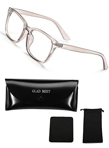 GLAD MEET PCメガネ ブルーライトカット メガネ 眼鏡 ゲーム用メガネ UVカットメガネ ケース 袋 クロス 4点セット (クリアブラウン)