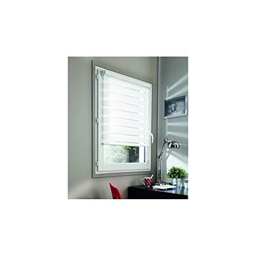 MADECOSTORE Double Store Enrouleur Jour Nuit - Blanc - L45 x H100cm - Fixation avec ou sans perçage - Chaînette coordonnée