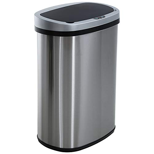 HCY Motion Sensor Kitchen Trash Can Stainless Steel Metal Garbage Can Mute Automatic Waste Bin for Office Kitchen Living Room Bathroom 13 Gallon 50 Liter