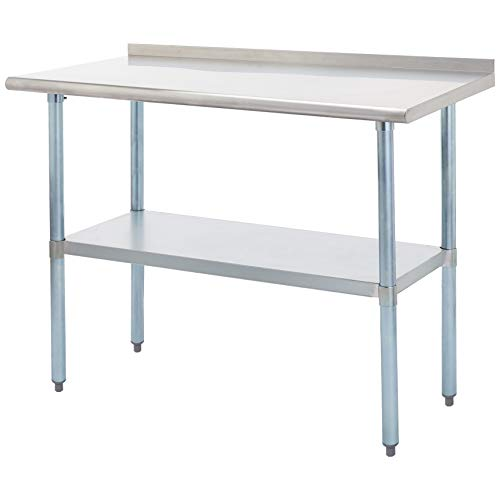 Rockpoint Carmona Tall NSF Stainless-Steel Commercial Kitchen Work Table with Backsplash and Adjustable Shelf, 48 x 24 Inch