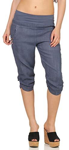 Malito Mujer Pantalones de Lino Pantalones de Ocio Colores Liso 7988