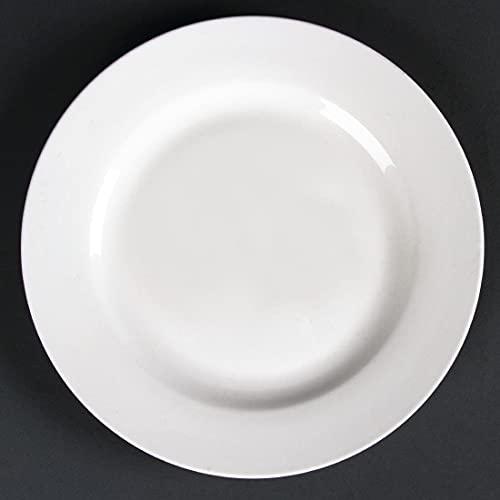 Lumina Fine China Assiettes Rondes à Rebord Large en Porcelaine Blanche 200 mm - Va au Four, Micro Ondes, Congélateur et Lave Vaisselle - Paquet de 6