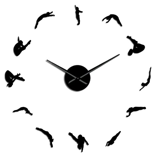 xinxin Reloj de Pared Moderno para Mujer, Deporte de Buceo, DIY, Reloj de Pared acrílico 3D, Reloj de Cuarzo, Reloj con Pilas, Reloj con Efecto Espejo, Regalo para Atleta