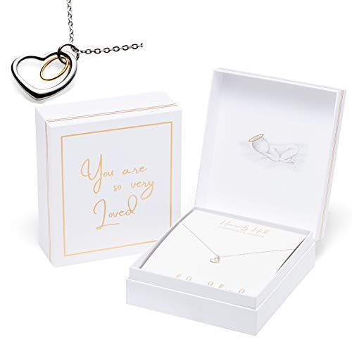 Halo Remembrance Necklace | White Linen and Gold Foil Premium Extra Large Keepsake Box | Miscarriage Gift, Infant Loss, Memory Item, Memorial Gift