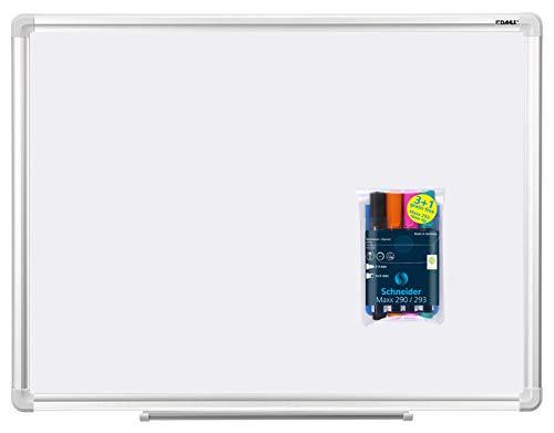 Dahle Basic Whiteboard (Beschreibbare Magnettafel in stabilem Alurahmen, 45 x 60 cm) (45 x 60 cm, Whiteboard + 4 Marker Spezial)