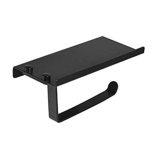 VIFERR Accesorios Baño Colores Soporte para Papel, Inodoro Baño Soporte para Papel Espacio Aluminio Estante para Teléfono Accesorios para Montaje en Pared Color Negro